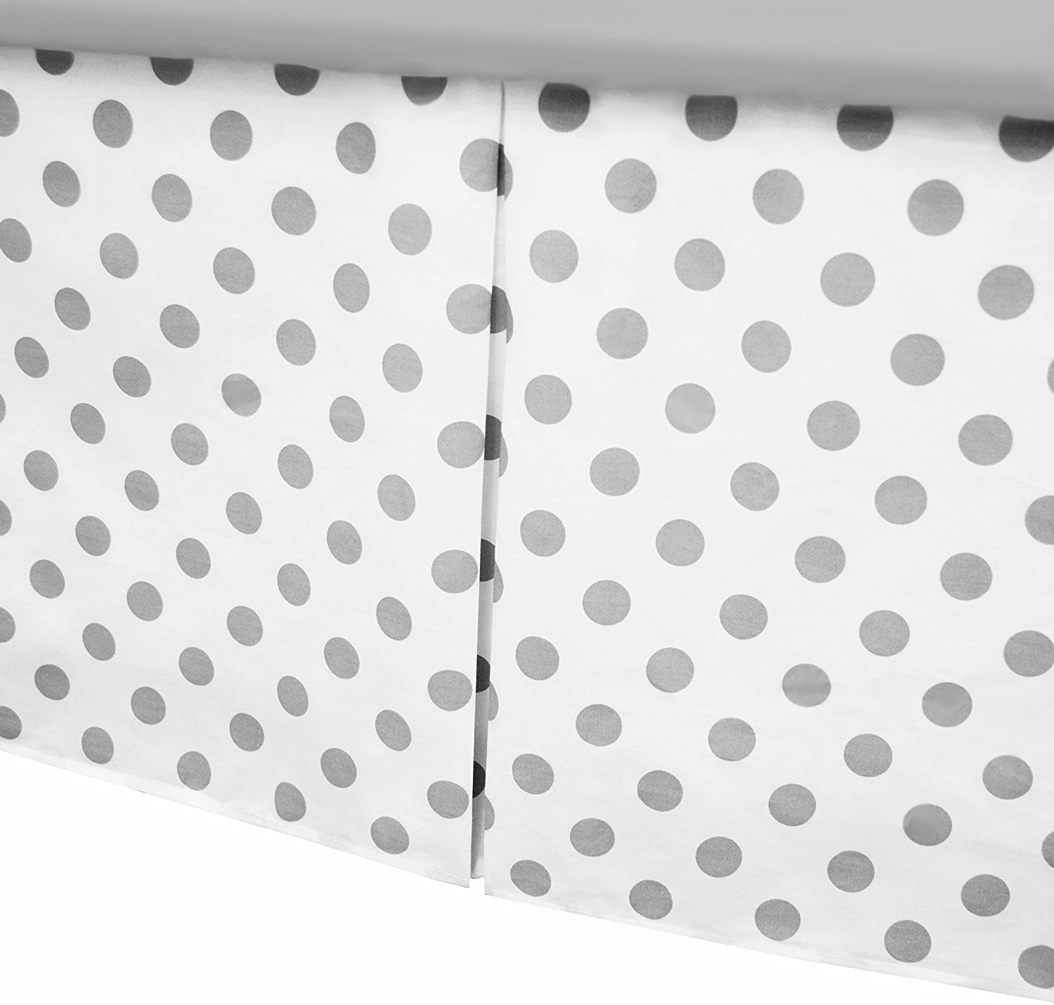American Baby Company Cotton Percale Crib Skirt With Pleat - White Gray Dots
