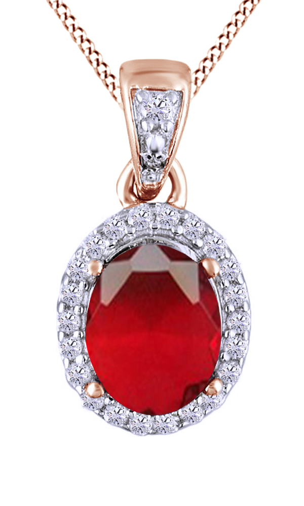 Pink Simulated Ruby Cubic Zirconia & White Cubic Zirconia Fashion Pendant Necklace In 925 Sterling Silver (3.7 Ct) by Jewel Zone US