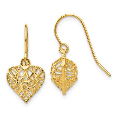 Roy Rose Jewelry 14K Yellow Gold Diamond Cut Puffed Heart Dangle Earrings Cut Dangle Yellow Gold Earrings