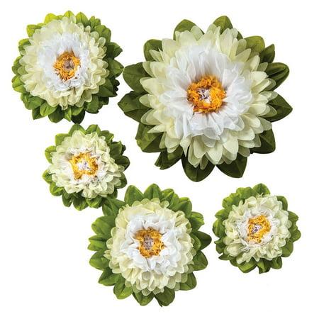Large Tissue Paper Flowers (Multiple Sizes, Signature Whites, Set of 5) (Tissue Paper Flowers Diy)