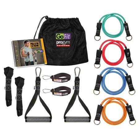 ProGym Extreme - 20, 30, 40 & 50lb Tubes, 2 Handles, 2 Ankle Straps, 2 Door Anchors, Training Manual & Carry -