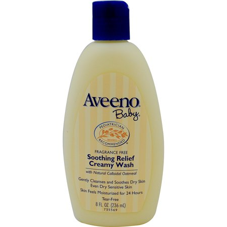 Aveeno Baby Fragrance - Aveeno, Baby, Soothing Relief Creamy Wash, Fragrance Free, 8 fl oz(pack of 4)