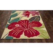 Winston Porter Vasser Hibiscus Yellow/Red Indoor/Outdoor Area Rug
