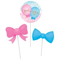 Club Pack of 18 Pink and Blue Gender Reveal Balloon DIY Centerpiece Sticks 15""