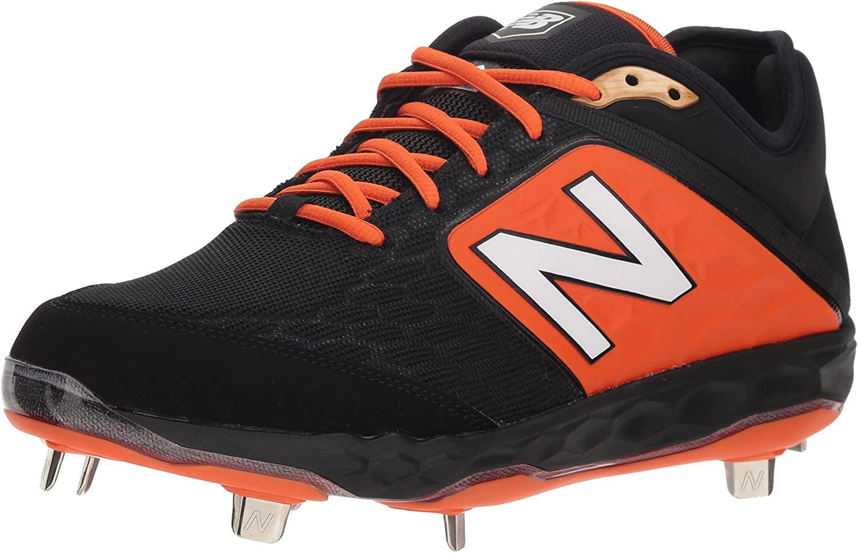 Metal Baseball Shoe, Black/Orange