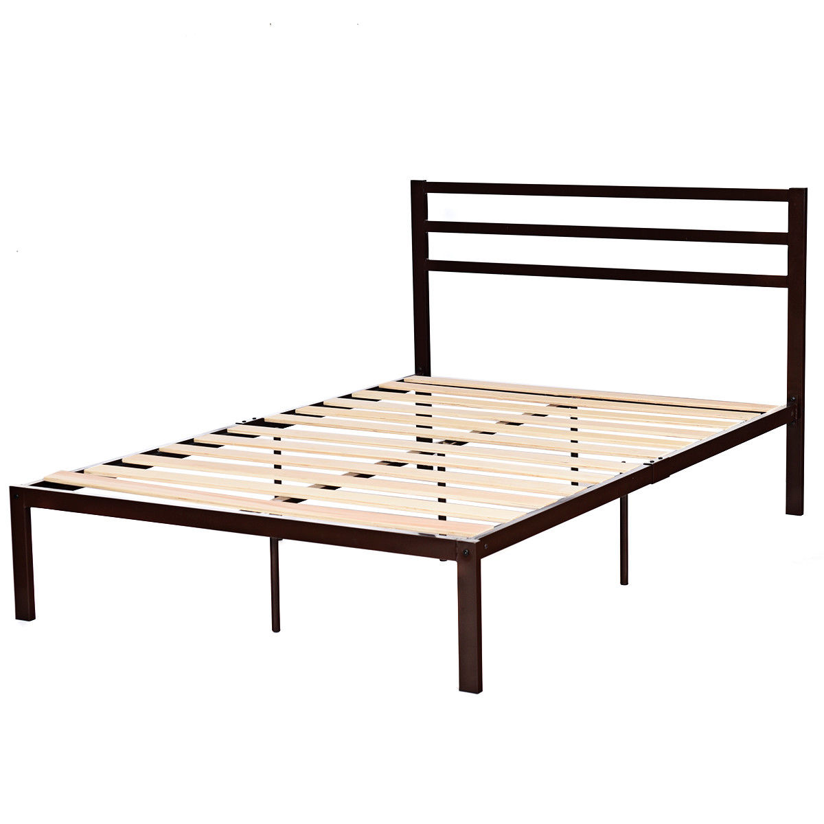 "Costway 14"" Full Size Metal Bed Frame Platform Wooden Slat Support Headboard Chocolate"