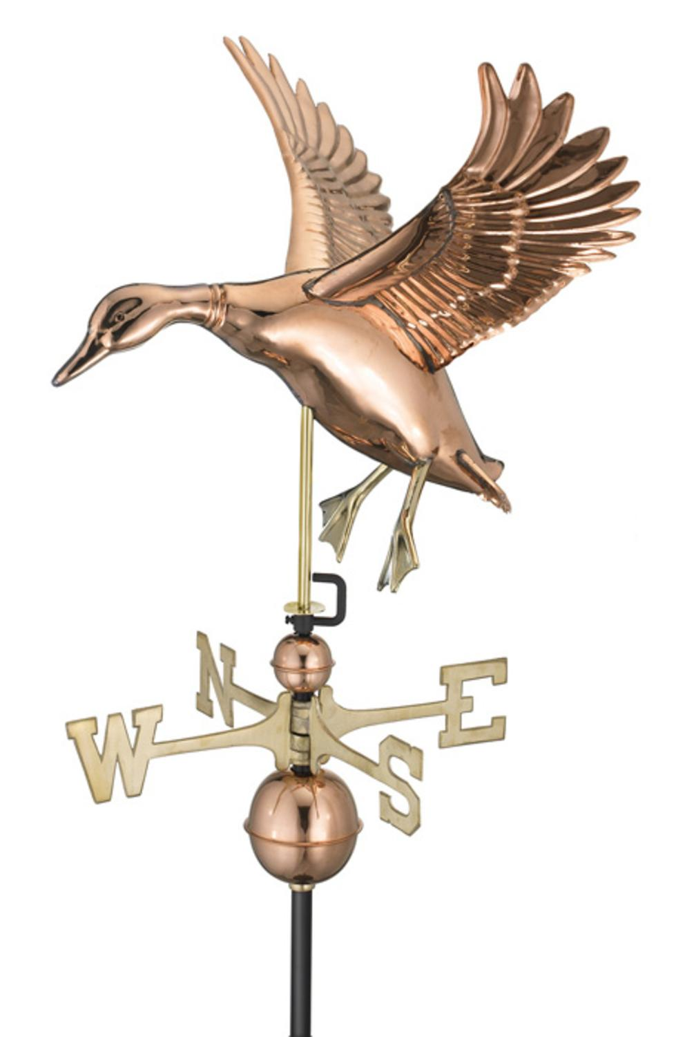 "27"" Luxury Polished Copper Landing Duck Weathervane by Weathervanes"
