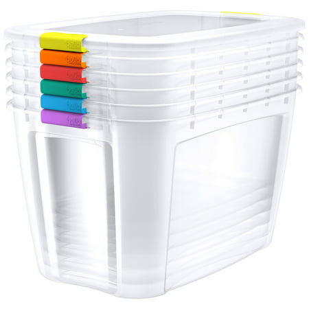 Bella Storage 160 Quart Locking Lid Plastic Storage with Assorted Colored Locks (Case of 6)
