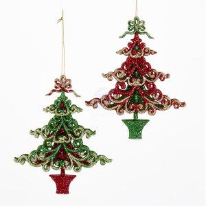 2 assorted red green and gold glitter christmas tree for Green and gold christmas tree