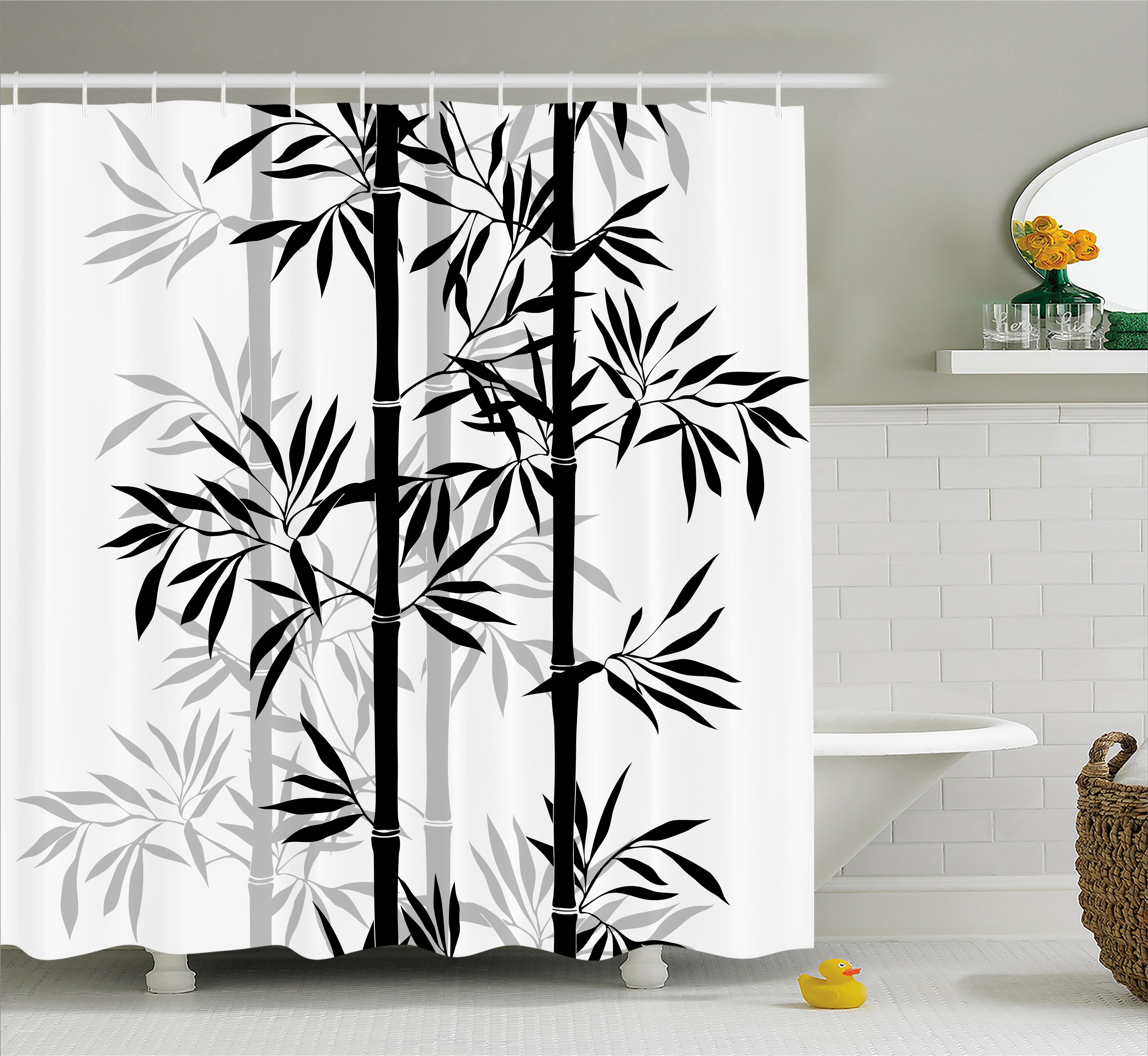 Tree Of Life Shower Curtain Silhouette Spiritual Bamboo Leaves Japanese Zen Feng Shui Boho Image Fabric Bathroom Set With Hooks Black White