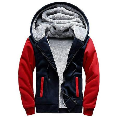 - Men's Winter Plus Velvet Padded Zipper Hooded Warm Sweater Jacket