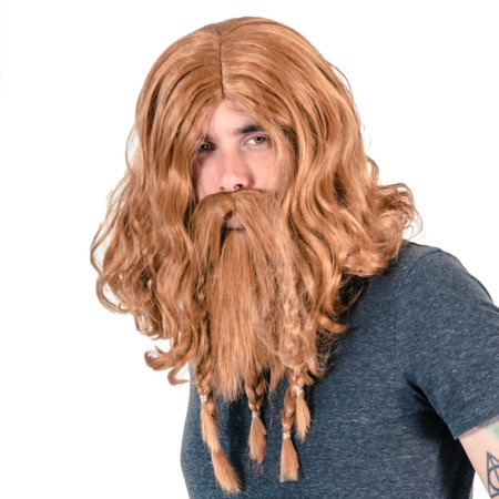 Adult Deluxe Viking Wig and Beard Costume Accessory - Grey Beard And Wig