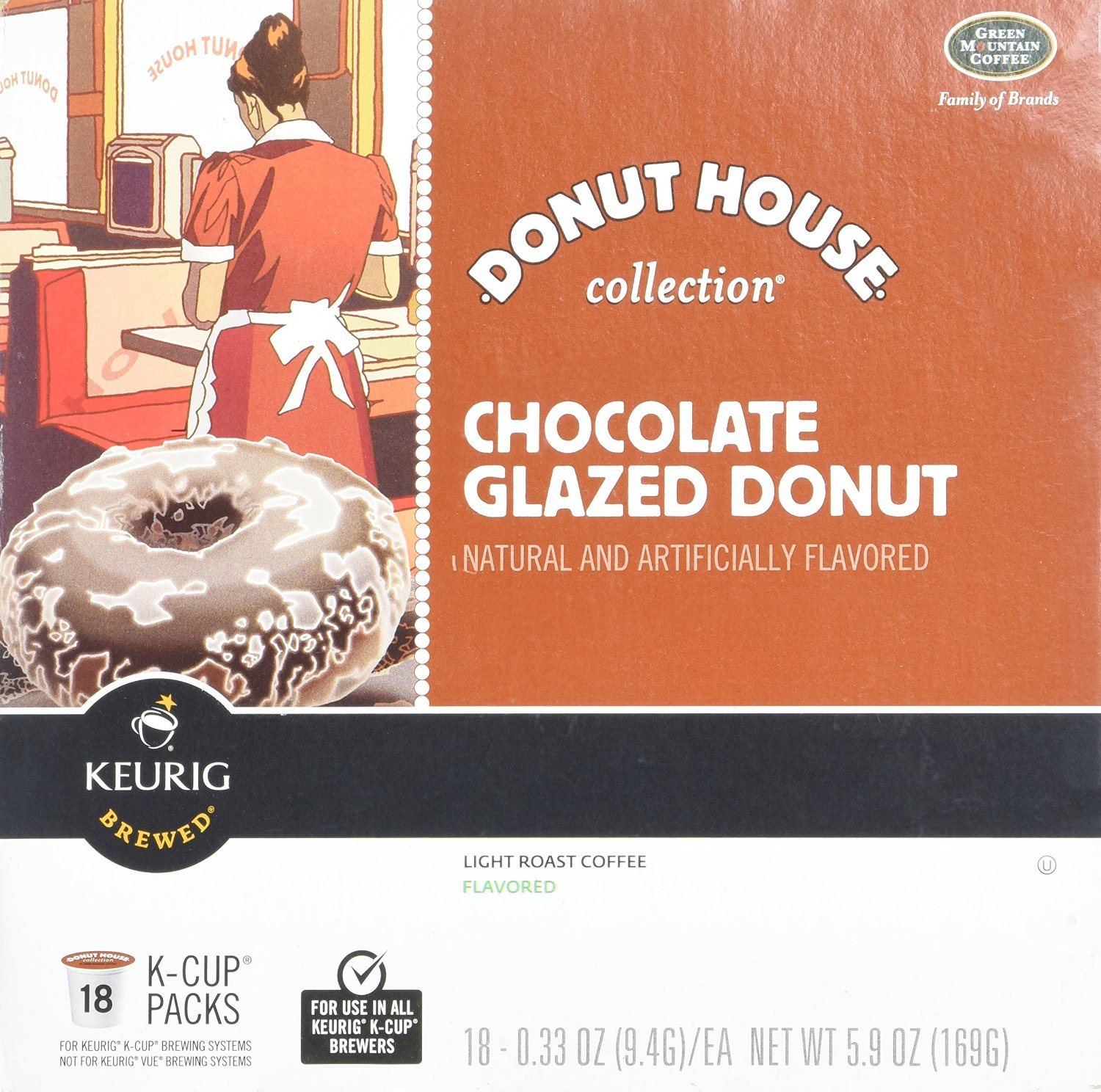 Green Mountain Chocolate Glazed Donut K Cups, 5.9 OZ (Pack of 10)
