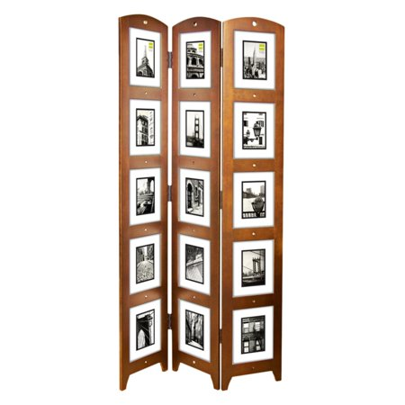 Kiera Grace Triple-Panel Cairo Photo Screen Room Divider, Holds 15 Photos, 33