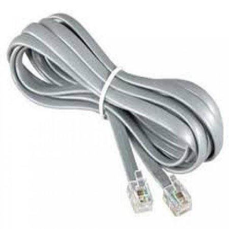 Philmore TEC46M 14 ft 6P6C 6 Conductor Telephone Line Cord Silver