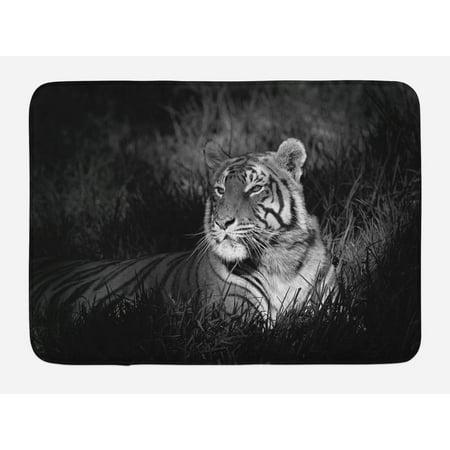 Plus Mat (Black and White Bath Mat, Bengal Tiger Lying in the Grass Africa Savannah Monochrome Image Print, Non-Slip Plush Mat Bathroom Kitchen Laundry Room Decor, 29.5 X 17.5 Inches, Black White, Ambesonne )