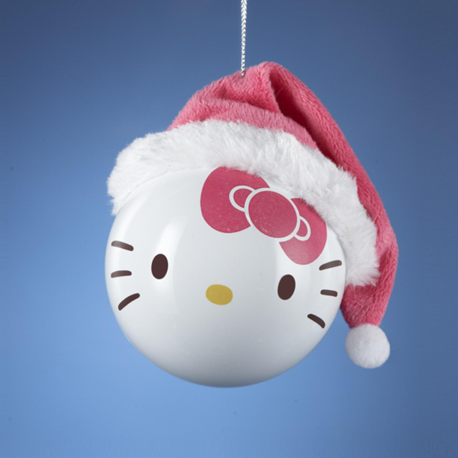 """Hello Kitty with Pink Santa Hat Shatterproof Christmas Ball Ornament 3.25""""(80MM)"""
