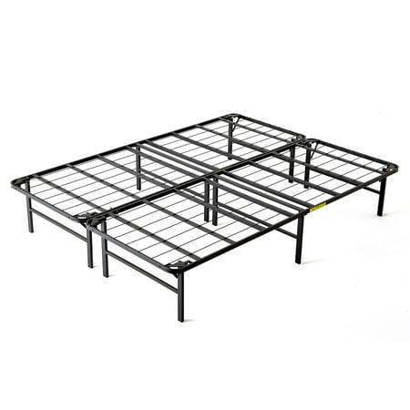 intelliBASE Lightweight Easy Set Up Bi-Fold Platform Metal Bed Frame, (Bi Frame)
