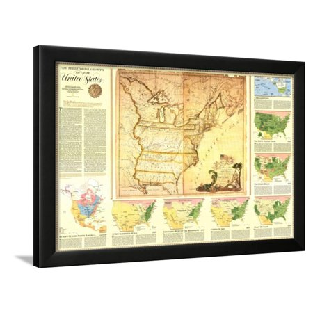 1987 territorial growth of the united states map framed print wall art by national geographic. Black Bedroom Furniture Sets. Home Design Ideas