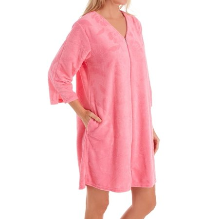 Women's Miss Elaine 838009 Micro Terry Short Zip Robe