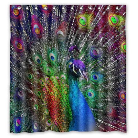 GreenDecor Cute Peacock Art Waterproof Shower Curtain Set with Hooks Bathroom Accessories Size 66x72 inches](Peacock Accessories)