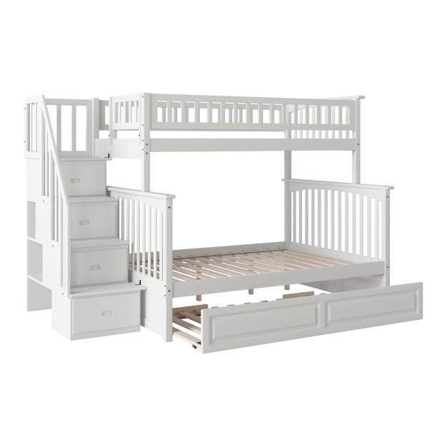 Columbia Staircase Bunk Bed Twin Over Full With Twin Size Raised Panel Trundle Bed In White Walmart Com Walmart Com