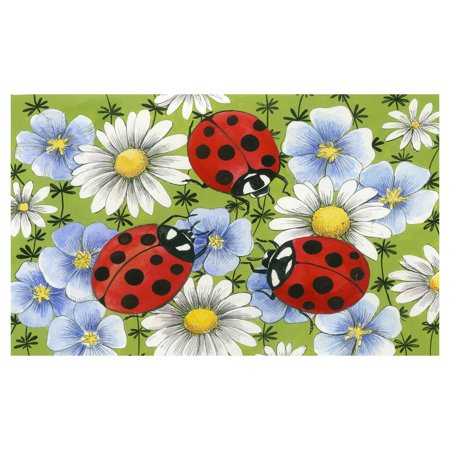Toland Home Garden Flowers and Ladybugs Doormat - Polyester / Rubber