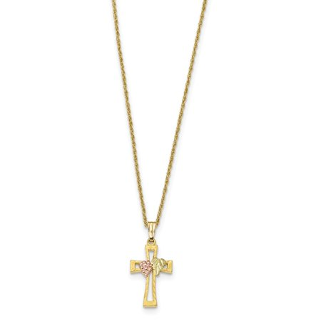 Roy Rose Jewelry 10k Tri-Color Gold Black Hills Gold Crucifix Necklace ~ length: 18 inches