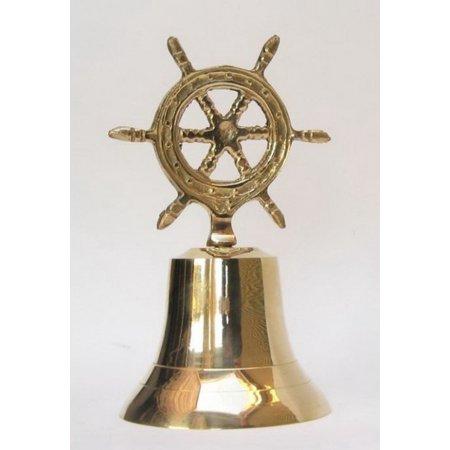 India Overseas Trading Br1876   Brass Ship Wheel Bell