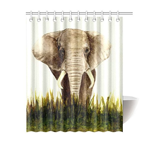 GCKG Animal Shower Curtain Indian Elephant Polyester Fabric Bathroom Sets 60x72 Inches