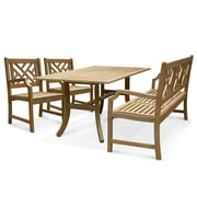 Renaissance Outdoor 4-piece Hand-scraped Wood Patio Dining Set with 5-foot Bench