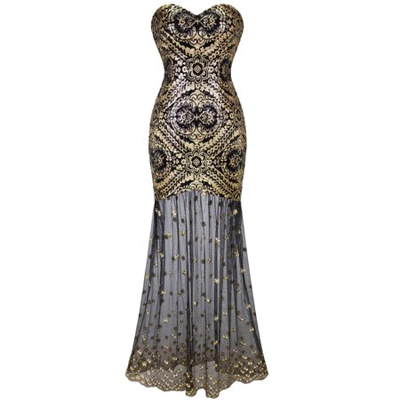 Angel-fashions Women's Sweetheart Sequin Sheer Tulle Flapper Gatsby Evening Dress
