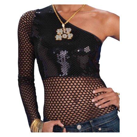 Women's Hip Hop Retro 80s Black Fishnet And Sequins Costume 1-Shoulder Shirt