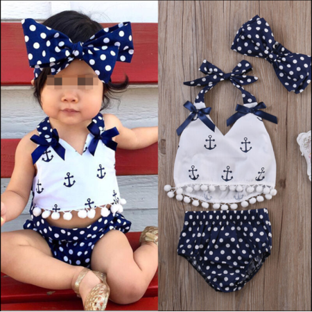 Infant Baby Girls Clothes Anchor Tops+Polka Dot Briefs Outfits Set Sunsuit