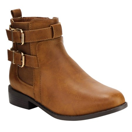 EF38 Women's Double Buckle Strap Elastic Stacked Ankle Bootie