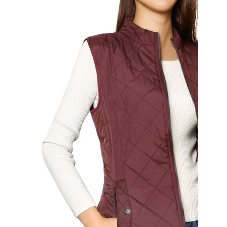 Women's Zip Up Front Stand Collar Lightweight Quilted Padded Vest (Lightweight Zip Front Jacket)