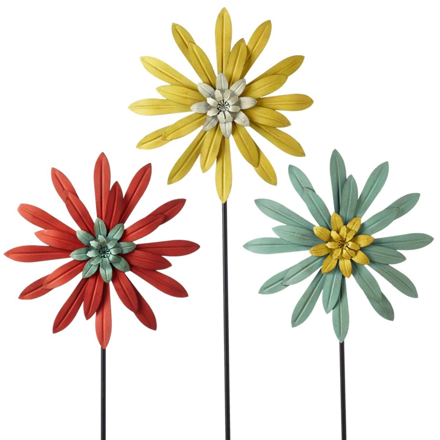 """Set of 3 Red, Yellow and Blue Layered Metal Flower Garden Stake 36"""" by Diva At Home"""