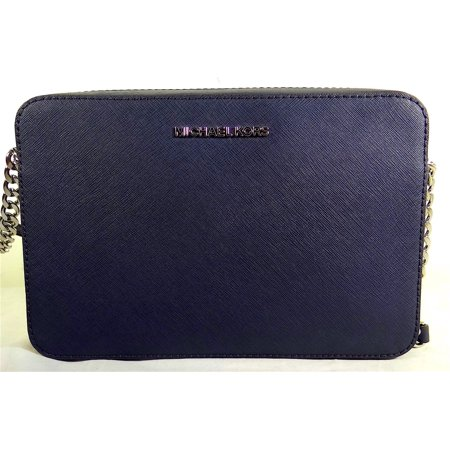 5db477a0b5e175 Michael Michael Kors Jet Set Large EW NAVY Leather Crossbody Bag ...