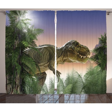 Scary Halloween Window Panels (Jurassic Decor Curtains 2 Panels Set, Dinosaur In The Jungle Trees Forest Nature Woods Scary Predator Violence, Living Room Bedroom Accessories, By)