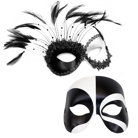 Success Creations Transfixed Black and White Couples Masks (Famous Black And White Couples For Halloween)
