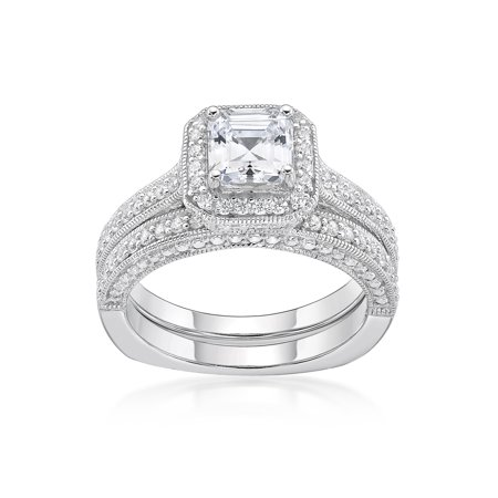 Sterling Silver Simulated Diamond Squared Bridal Set Ring