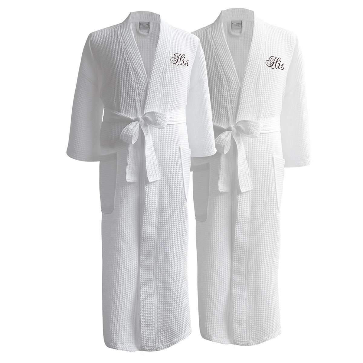 ac18b8fcff Egyptian Cotton Waffle Robes with Couple s Embroidery - Perfect Wedding  Gifts in Gift Packaging! - Walmart.com