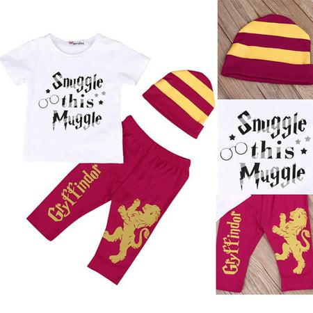 aa78e3b32 3pcs Infant Baby Boy Kids Harry Potter Outfits Clothes T-shirt Pants  Costume Set 0-24Months