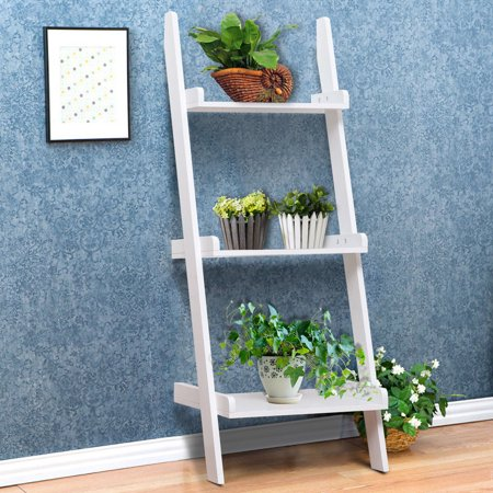 Bone Shelf Display Box - Gymax 3 Tier Book Shelf Leaning Wall Ladder Storage Rack Display Furniture White