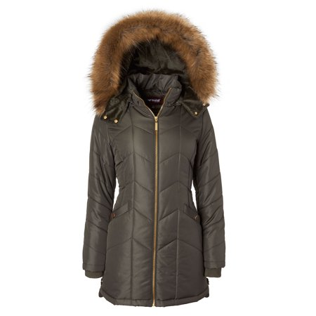 Sportoli Women's Long Down Alternative Puffer Coat Detachable Plush Lined Fur Trim Hood - Dark Sage (Largre) (Tartan Hooded Down Coat)