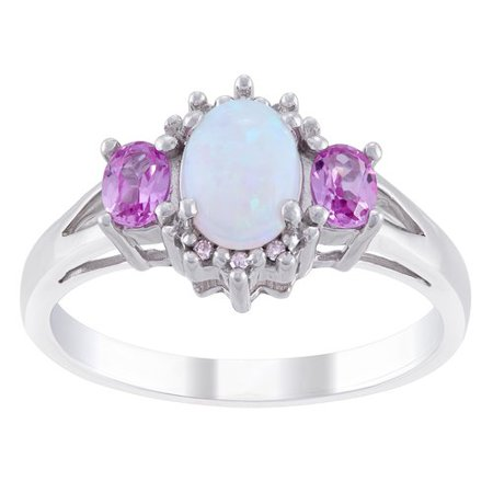 f16234c98 Opal and Lab Created Pink Sapphire with Diamond Accent Sterling Silver Ring  - Walmart.com