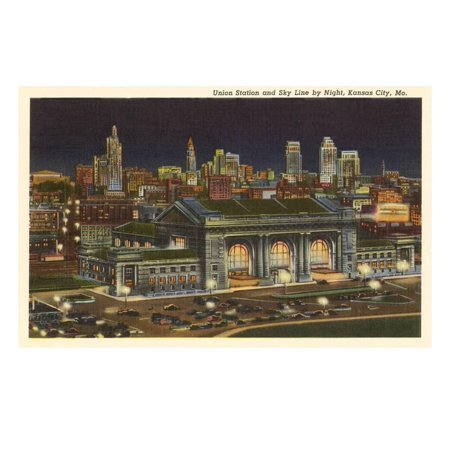 Night, Union Station, Kansas City, Missouri Print Wall Art - Party City Kansas City Missouri