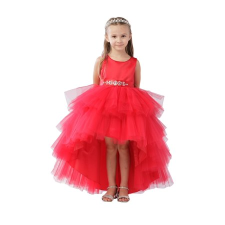 Girls Red Hi-Low Multi Level Ruffle Tutu Junior Bridesmaid Dress