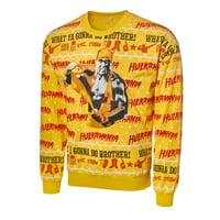 Official WWE Authentic Hulk Hogan Light Up Ugly Holiday Sweatshirt 2019 Multi Small