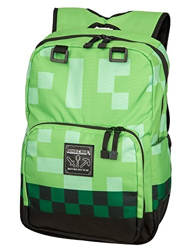 Minecraft Backpack School bag Boys Green Creeper Rucksack Sports Bag-NEW